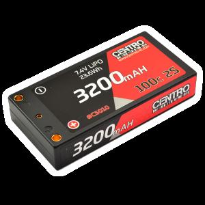 Centro 2S 3200mah 7.4v 100c Hardcase LP Shorty Lipo Battery